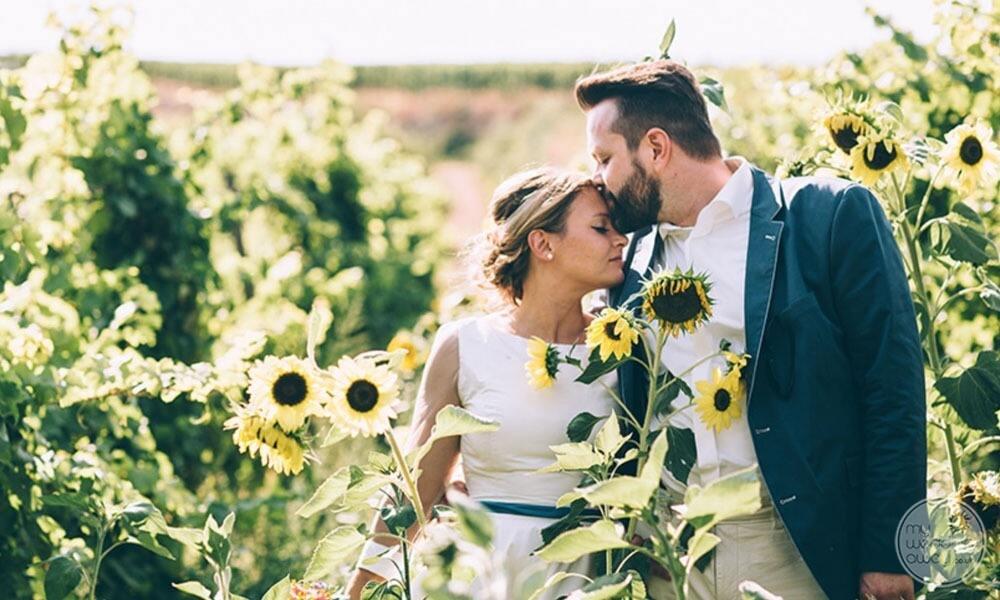 Wedding photography in flower field